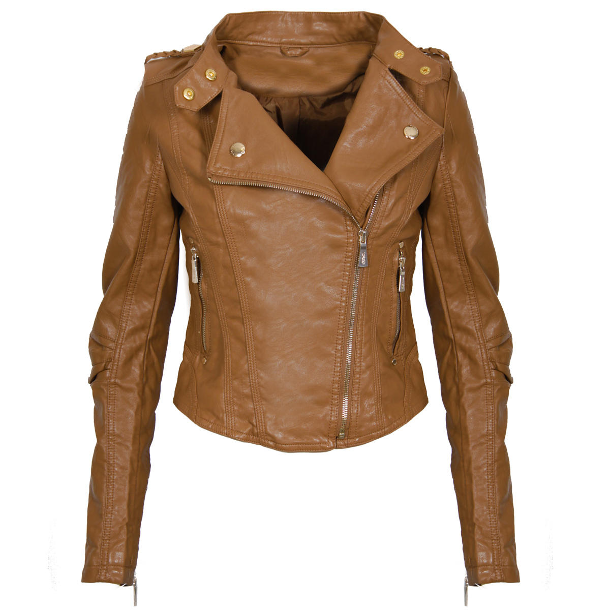 Caramel Leather Look Biker Jacket Preview